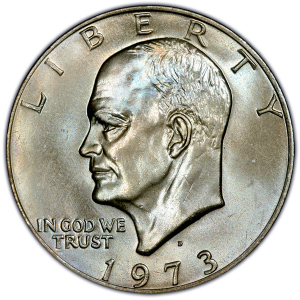 Obverse of 1973-D Eisenhower Dollar