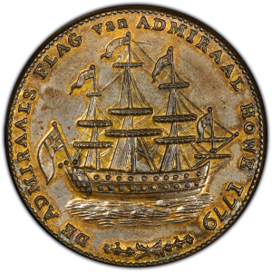 Obverse of Rhode Island Ship Token - Brass, Wreath Below