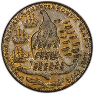 Reverse of Rhode Island Ship Token - Brass, Wreath Below
