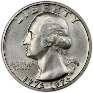 Obverse of 1976 Bicentennial Quarter Dollar, 40% Silver