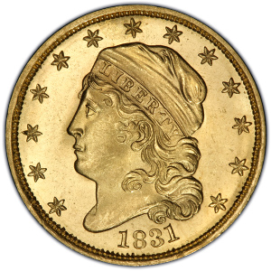 Obverse of 1831 Quarter Eagle