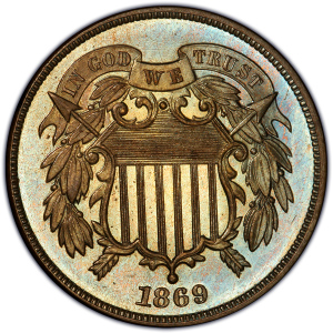 1869 Two Cent Piece Obverse