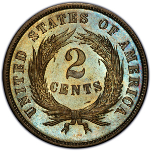 1869 Two Cent Piece Reverse