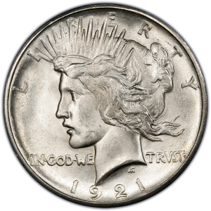 Obverse of 1921 Peace Dollar