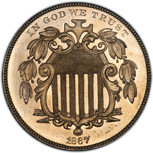Obverse of 1867 With Rays Shield Nickel