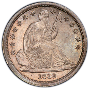 Obverse of 1839 No Drapery Dime