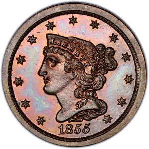 Obverse of 1855 Half Cent