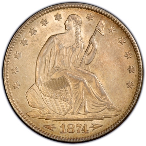 Obverse of 1874 Arrows at Date Half Dollar