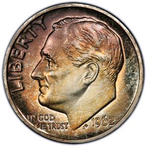 Obverse of 1962 Roosevelt Dime
