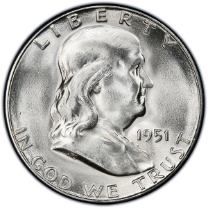 Obverse of 1951-S Half Dollar