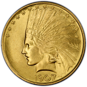 Obverse of 1907 No Motto $10 Indian