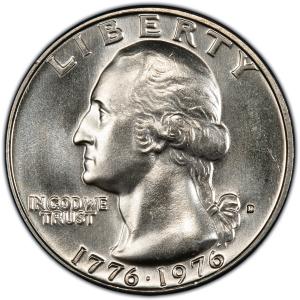 Obverse of 1876-D Bicentennial Quarter Dollar, Clad