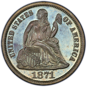 Obverse of 1871 Dime