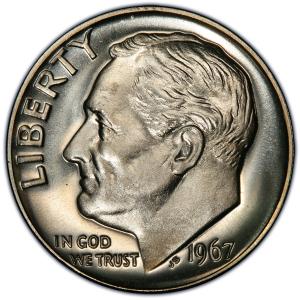 Obverse of 1967 Roosevelt Dime
