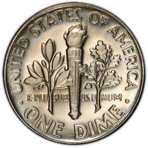 Reverse of 1967 Roosevelt Dime