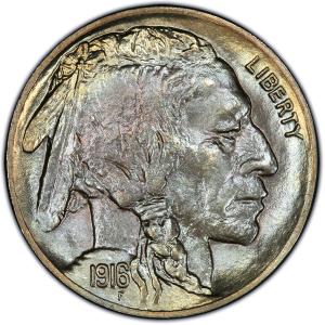 Obverse of 1916-D Buffalo Nickel