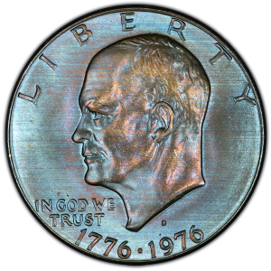 Obverse of 1976-D Type 1 Bicentennial Eisenhower Dollar