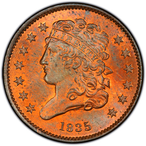 Obverse of 1835 Half Cent