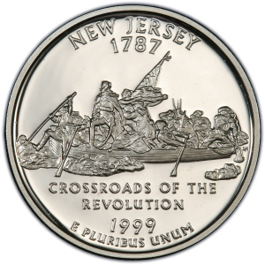 Reverse of 1999 New Zersey Statehood Quarter Dollar