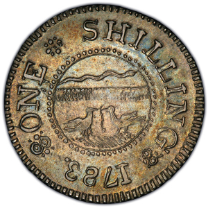 Reverse of 1783 Chalmers Shilling - Long Worm