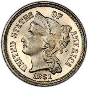 1881 Three Cents Nickel Obverse