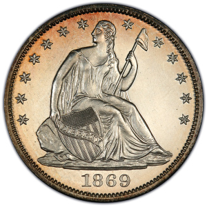 Obverse of 1869 Half Dollar