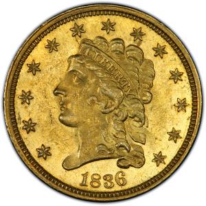 Obverse of 1836 Quarter Eagle