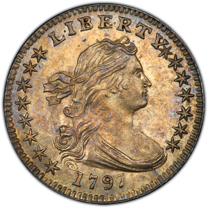 Obverse of 1797 Half Dime - 15 Stars on Reverse