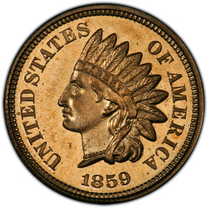 Obverse of 1859 Indian Head Cent