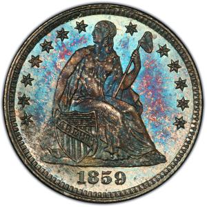 Obverse of 1859 Half Dime
