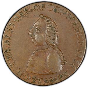 Obverse of 1766 Pitt Halfpenny