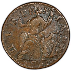 Reverse of 1760 Voce Populi Halfpenny