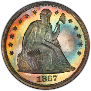 Obverse of Seated Liberty Silver Dollar
