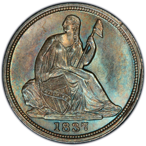 Obverse of 1837 No Stars Half Dime