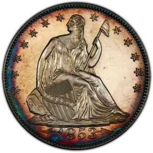 Obverse of 1853 Arrows & Rays Half Dollar