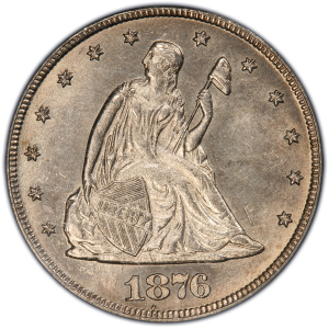Obverse of 1876-CC Twenty Cents