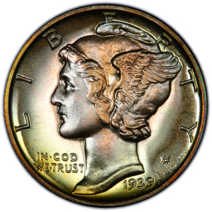 Obverse of 1939 Dime