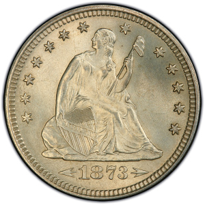 Obverse of 1873 Arrows at Date Quarter Dollar