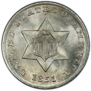 Obverse of 1851 Three Cents - Silver