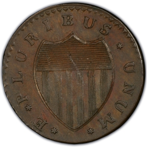 Reverse of 1786 Immunus Columbia Copper Pattern, Shield Reverse