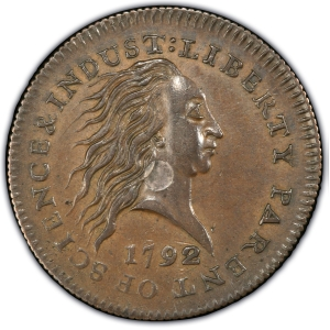 Obverse of 1792 Silver-Center Cent