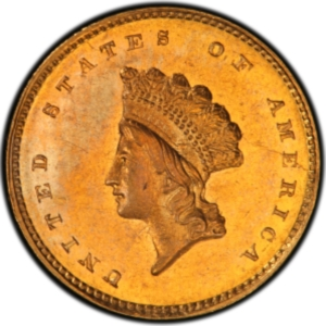 Obverse of 1856-S Gold Dollar