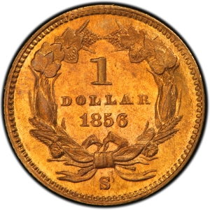 Reverse of 1856-S Gold Dollar