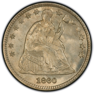 Obverse of 1860 Transitional Half Dime