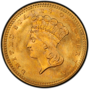 Obverse of 1863 Type 3 Gold Dollar