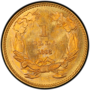 Reverse of 1863 Type 3 Gold Dollar