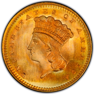 Obverse of 1864 Gold Dollar
