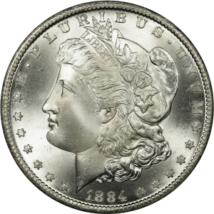 Obverse of 1884-CC Morgan Silver Dollar
