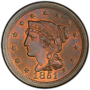 Obverse of 1851 Large Cent