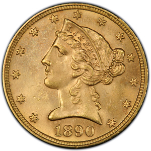 Obverse of 1890-CC $5 Half Eagle